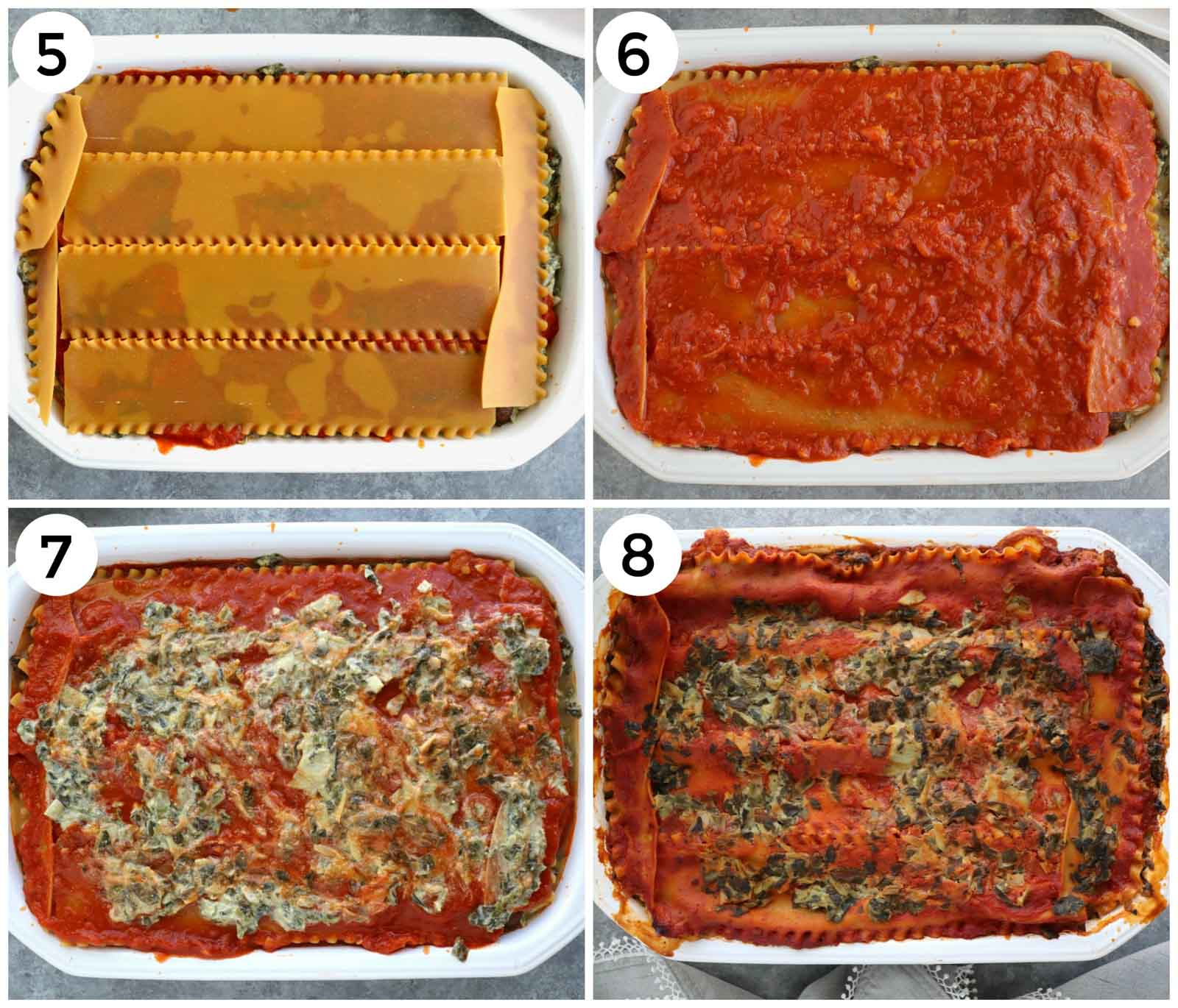 A photo collage showing how to make spinach lasagna step by step.