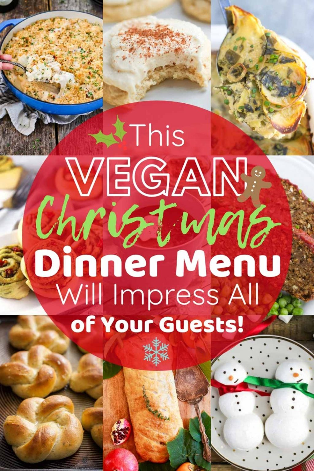 A photo collage showing a complete vegan Christmas dinner menu!