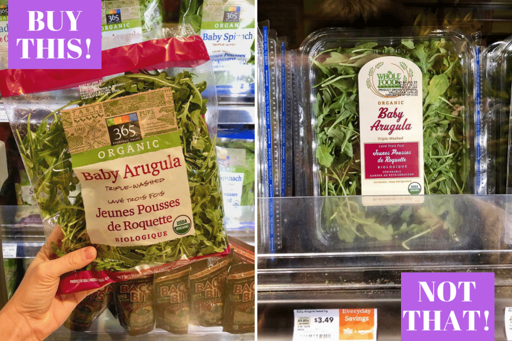 A hand holding a bag of baby arugula next to a container of baby arugula with different prices.