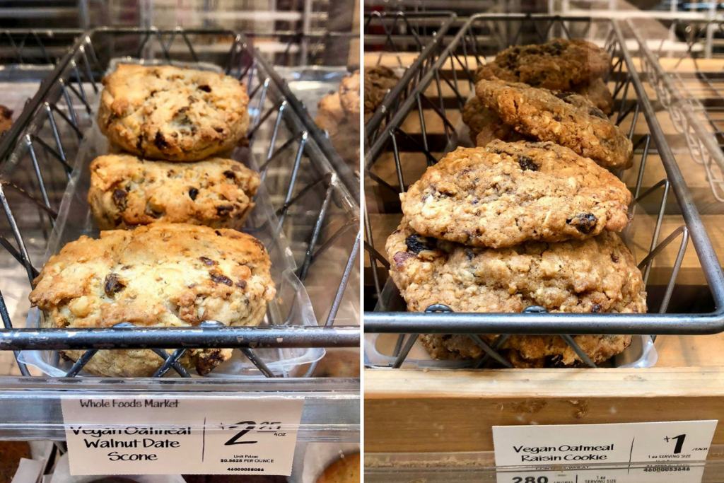 Two trays of vegan cookie options at Whole Foods market.