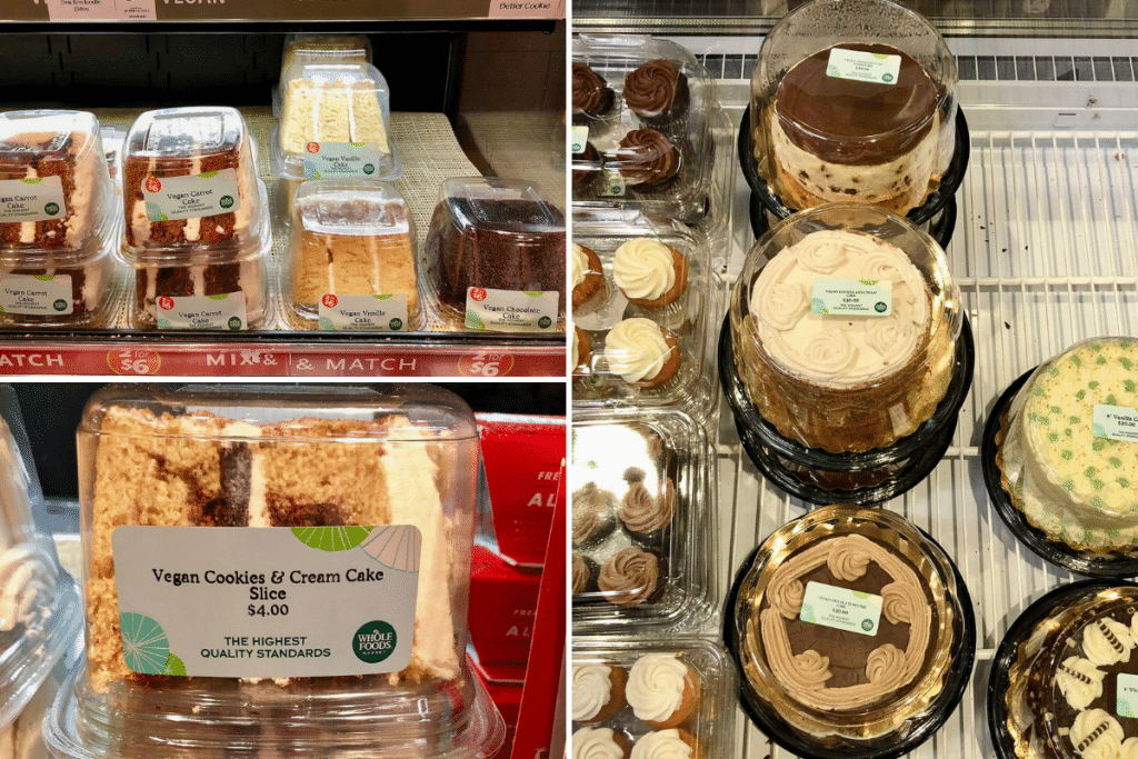 A collage of photos showing the different vegan cakes at Whole Foods