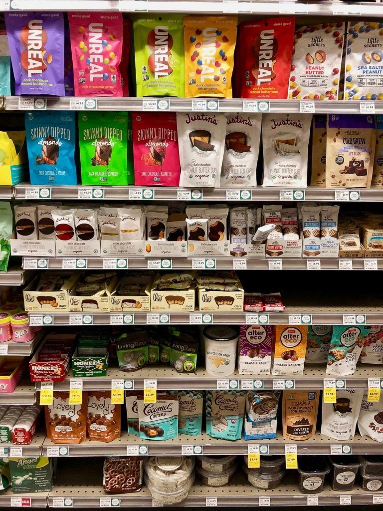 The vegan candy section at Whole Foods Market.