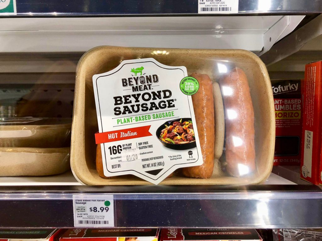A package of Beyone sausages on a shelf at Whole Foods.
