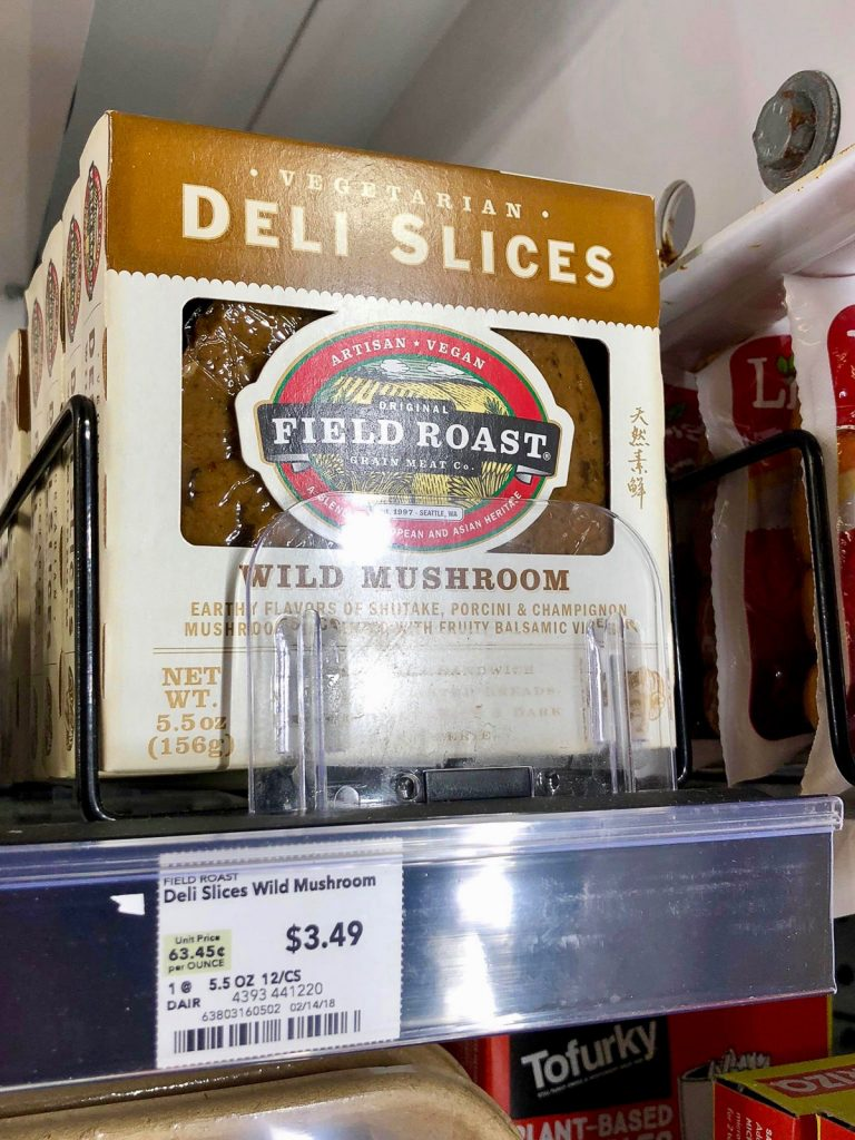 A package of Field Roast Deli Slices on a shelf at Whole Foods.