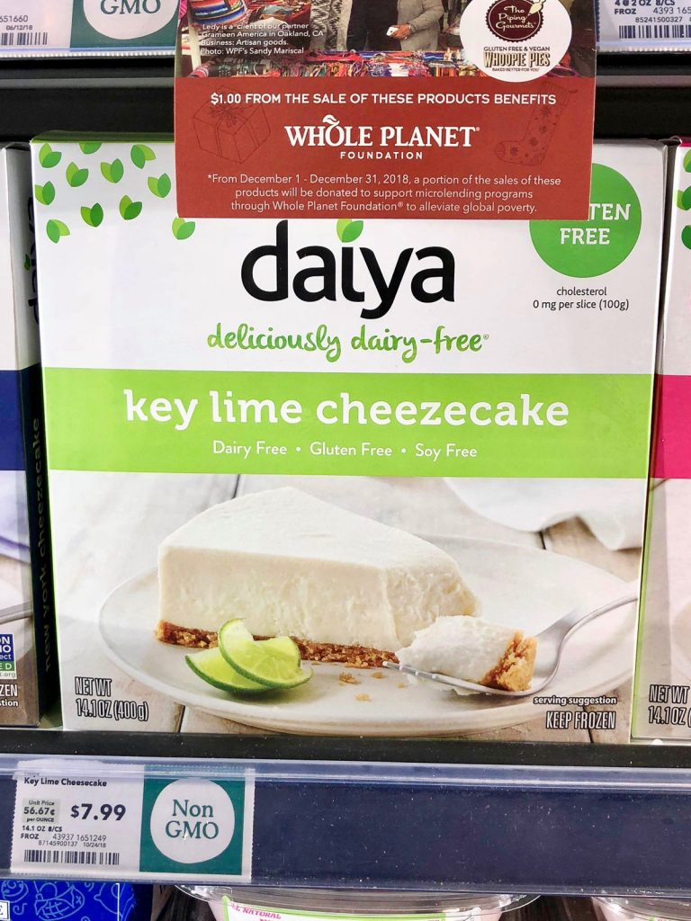 A package of Day vegan key lime cheesecake on a shelf at Whole Foods.