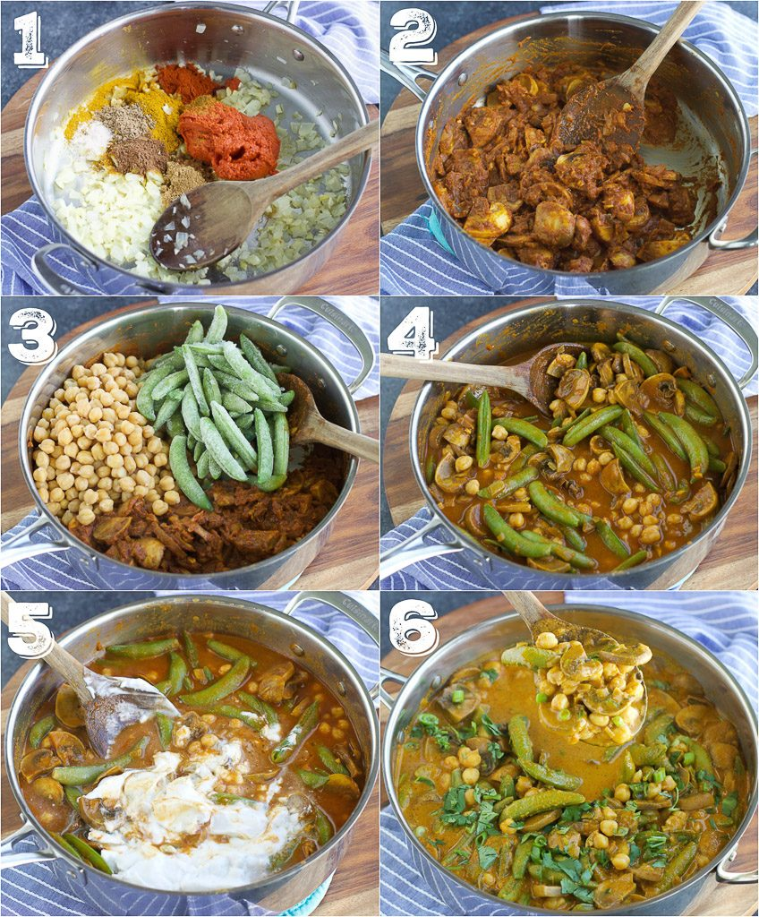 A photo collage showing how to make vegan curry in 6 easy steps.