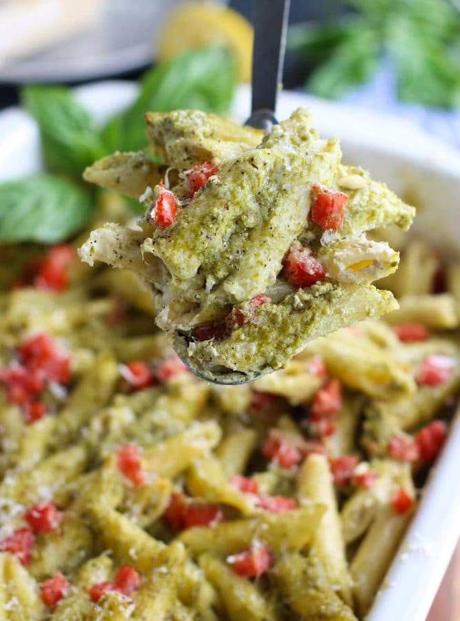 Vegan Casserole with pesto sauce