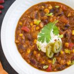 Easy vegan chili in a bowl