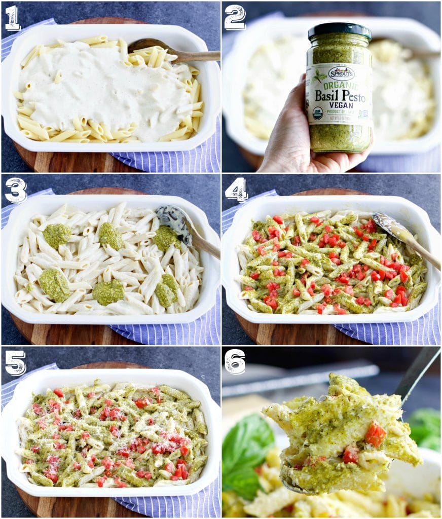 A photo collage showing how to make a vegan pasta casserole in 6 easy steps.