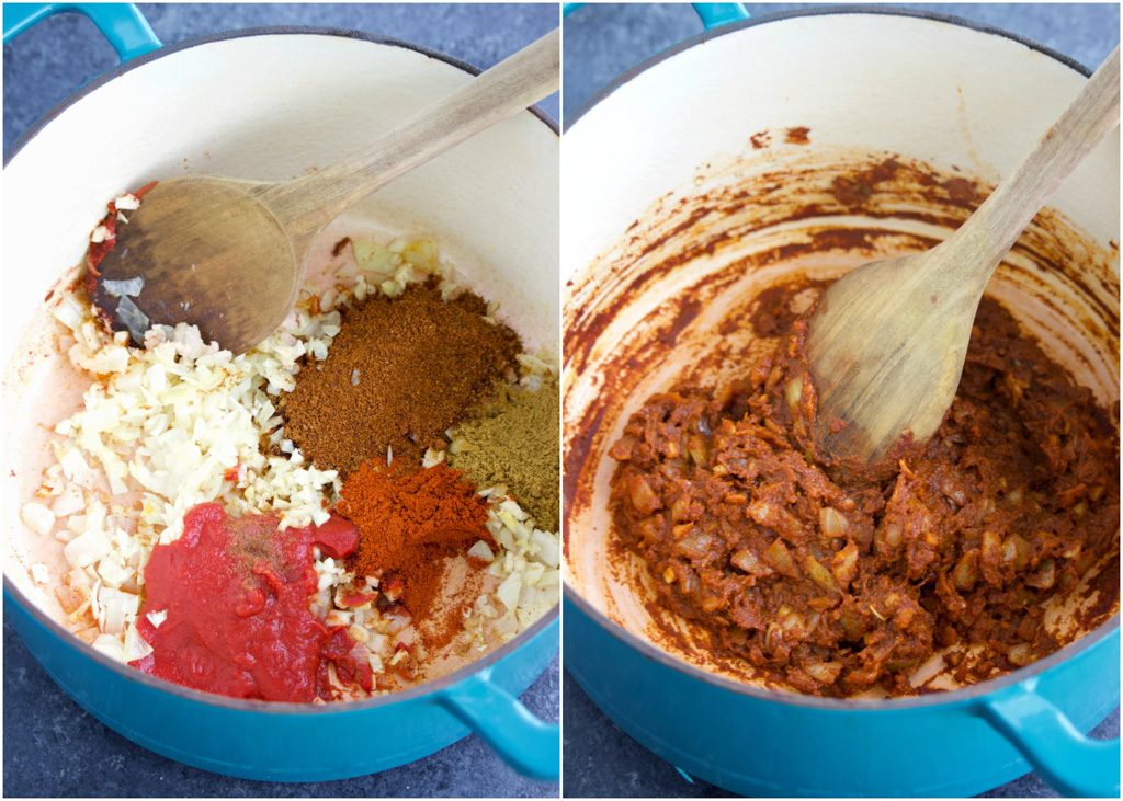 How to make easy vegan chili in a few simple steps shown in a photo collage on a dark background.