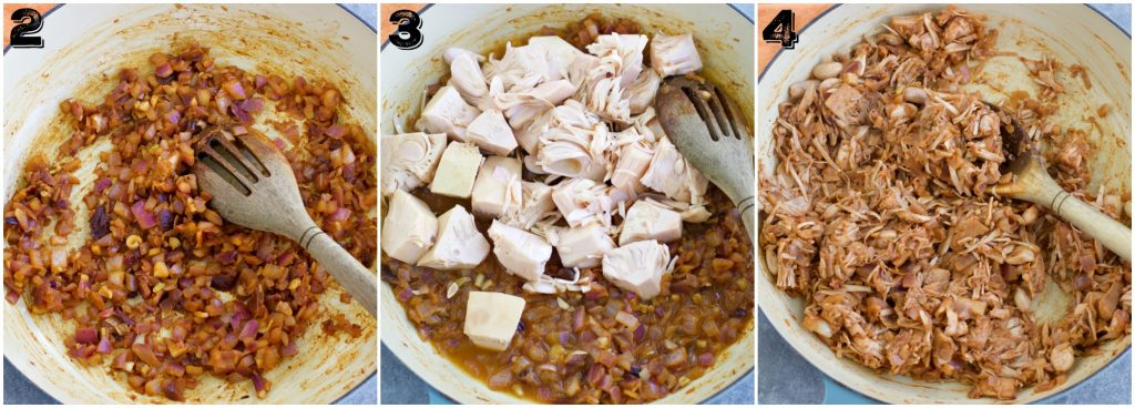 A photo collage showing how to make jackfruit tacos in three easy steps.