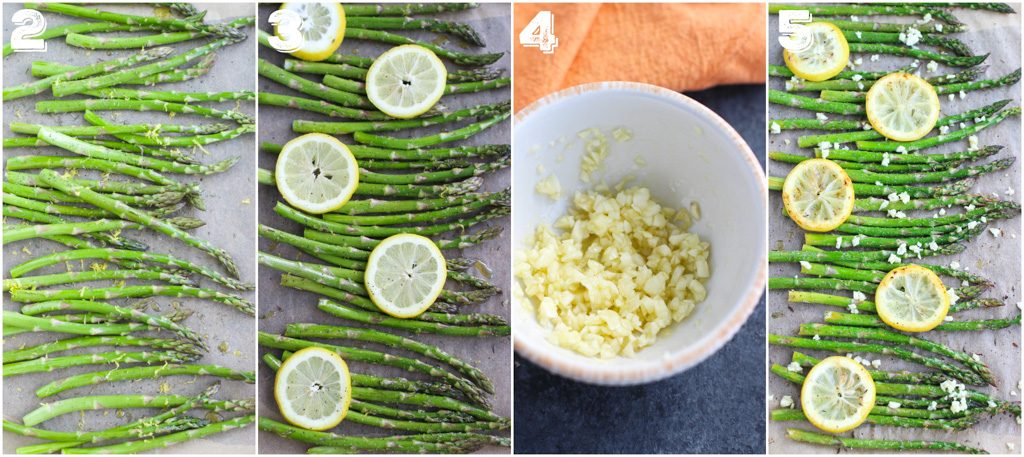 A photo collage showing how to make roasted asparagus with fresh garlic and lemon.