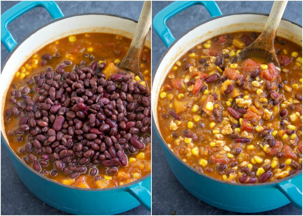 How to make tempeh chili in a few easy steps in a photo collage on a dark background.