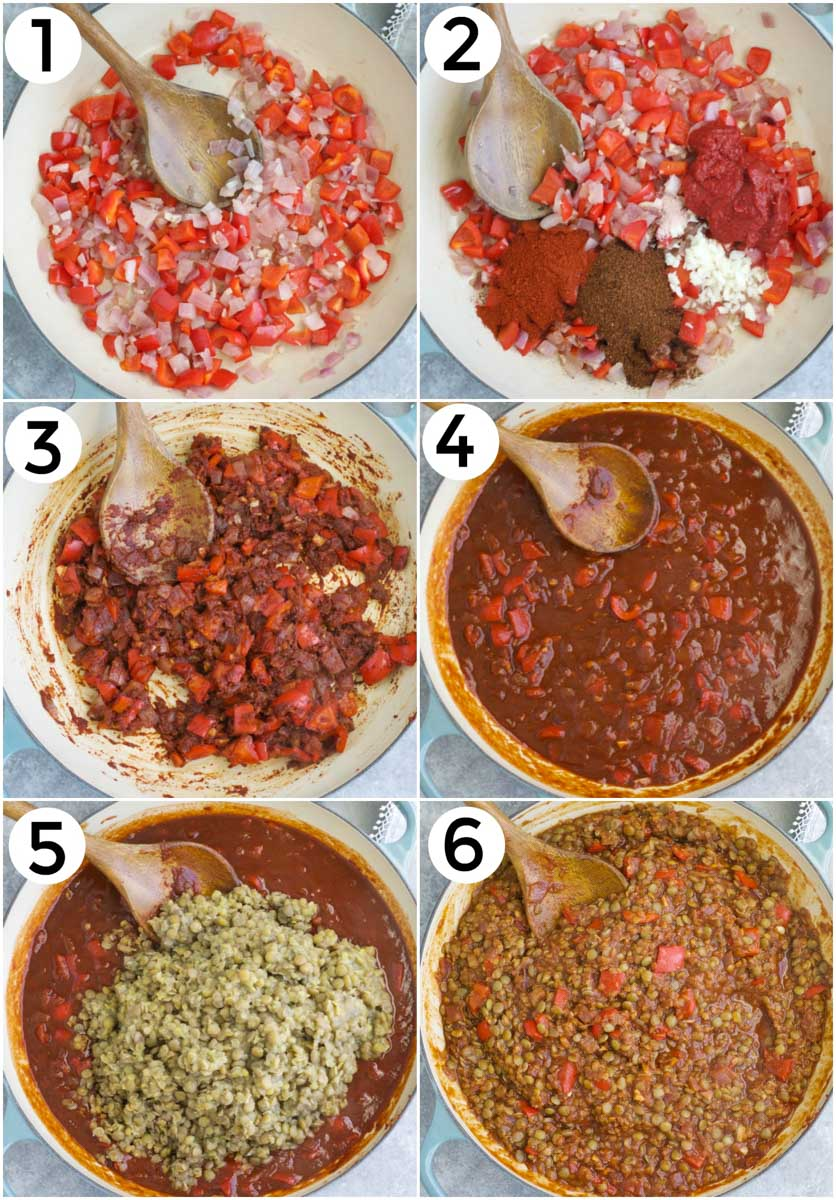 A photo collage showing how to make vegan sloppy joes.