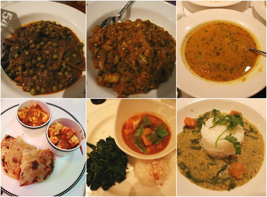 A photo collage of Indian food available on a Disney cruise.