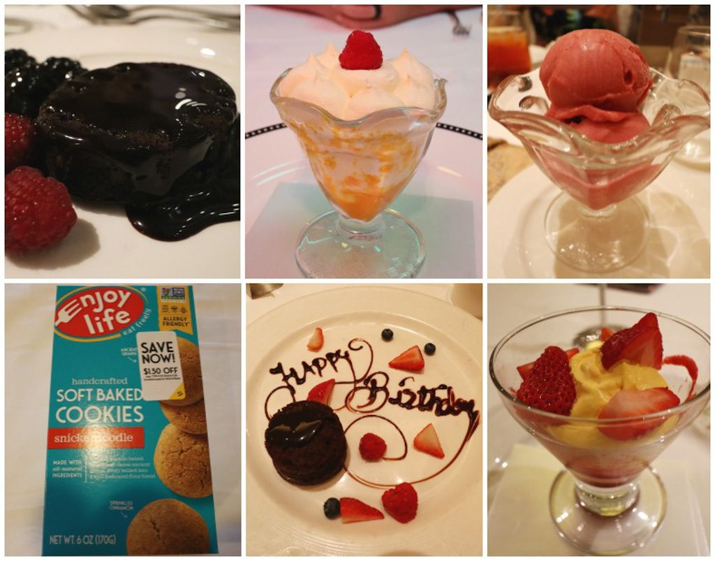 A collage of photos that shows the vegan dessert options on a Disney cruise.