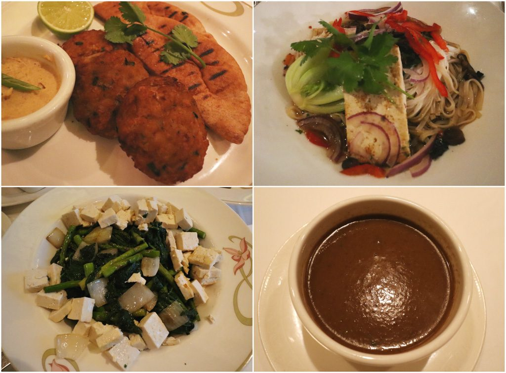 A photo collage of vegan food options that you can order on a Disney cruise.