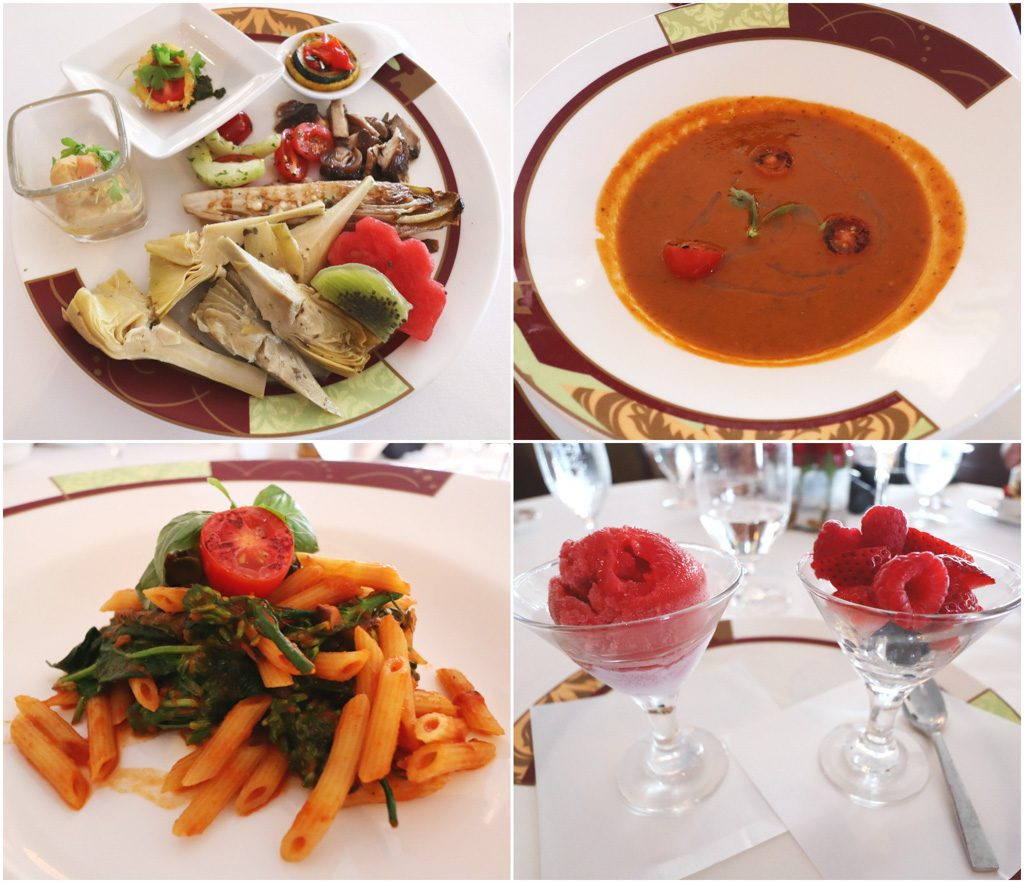 A collage of photos showing the vegan food options available at Palo brunch on a Disney cruise.