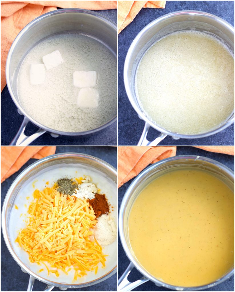 A collage of images showing how to make vegan macaroni and cheese in a few easy steps.