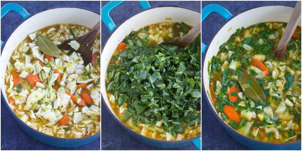 A collage of photos showing how to make vegetarian cabbage soup in a few easy steps.