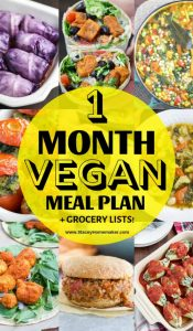 1 Month Vegan Meal Plan + Printable Vegan Grocery List PDF