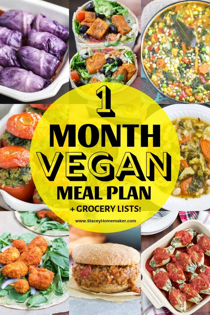 "A photo collage with the title, ""1 Month Vegan Meal Plan + Grocery Lists!"""