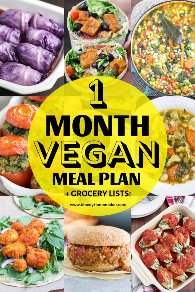 A photo collage showing vegan meals that are part of a 1 Month Vegan Meal Plan + Printable Vegan Grocery List.