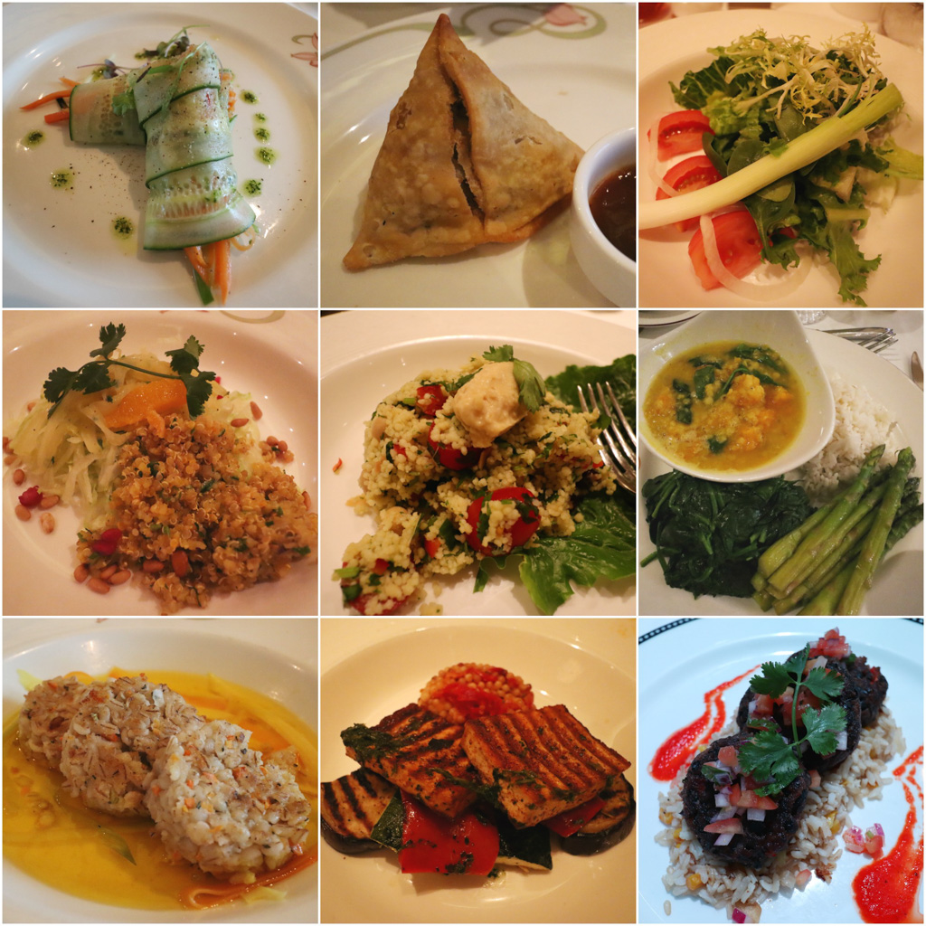 A photo collage of vegan food options available on a Disney cruise.