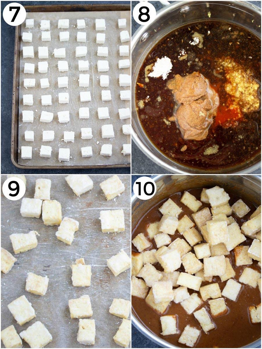 A photo collage showing how to make ginger tofu in a few easy steps.