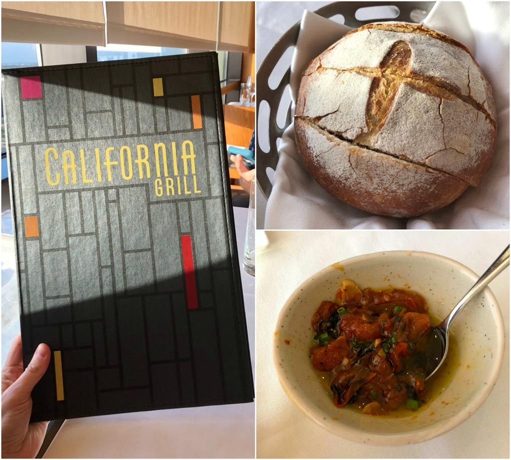 A collage of pictures showing the California Grill menu as well as the fresh bread basket and tomato dipping sauce.