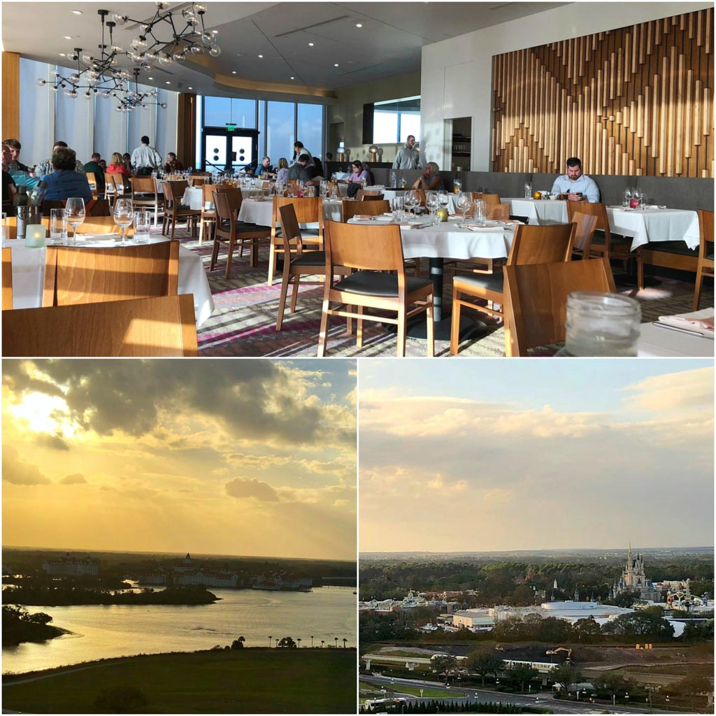A collage of pictures showing what the inside of the California Grill restaurant looks like as well as the view of Magic Kingdom and Seven Seas Lagoon from the window.