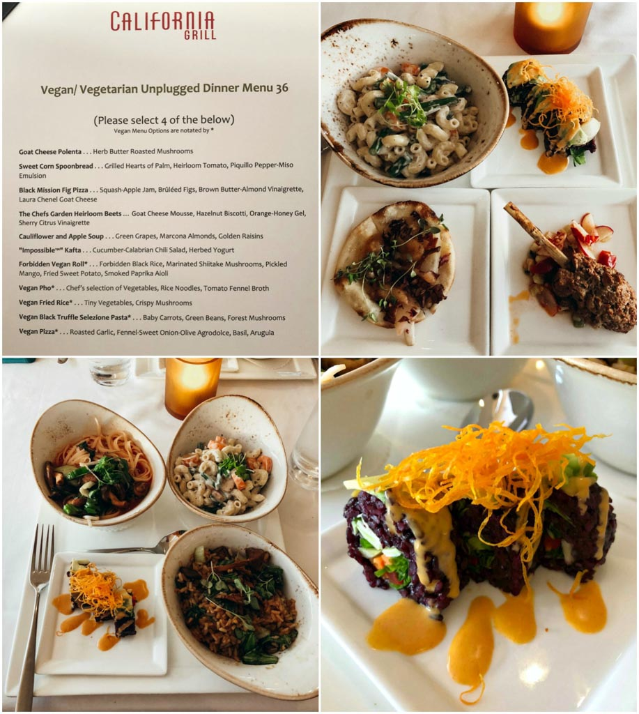 A collage of images that show the vegan menu at California Grill and all of the food options (sushi, pasta, kata, pho) on white plates.
