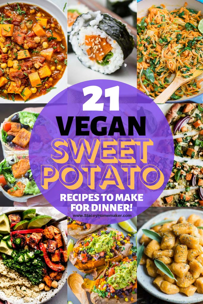 A photo collage of 21 vegan sweet potato recipes.