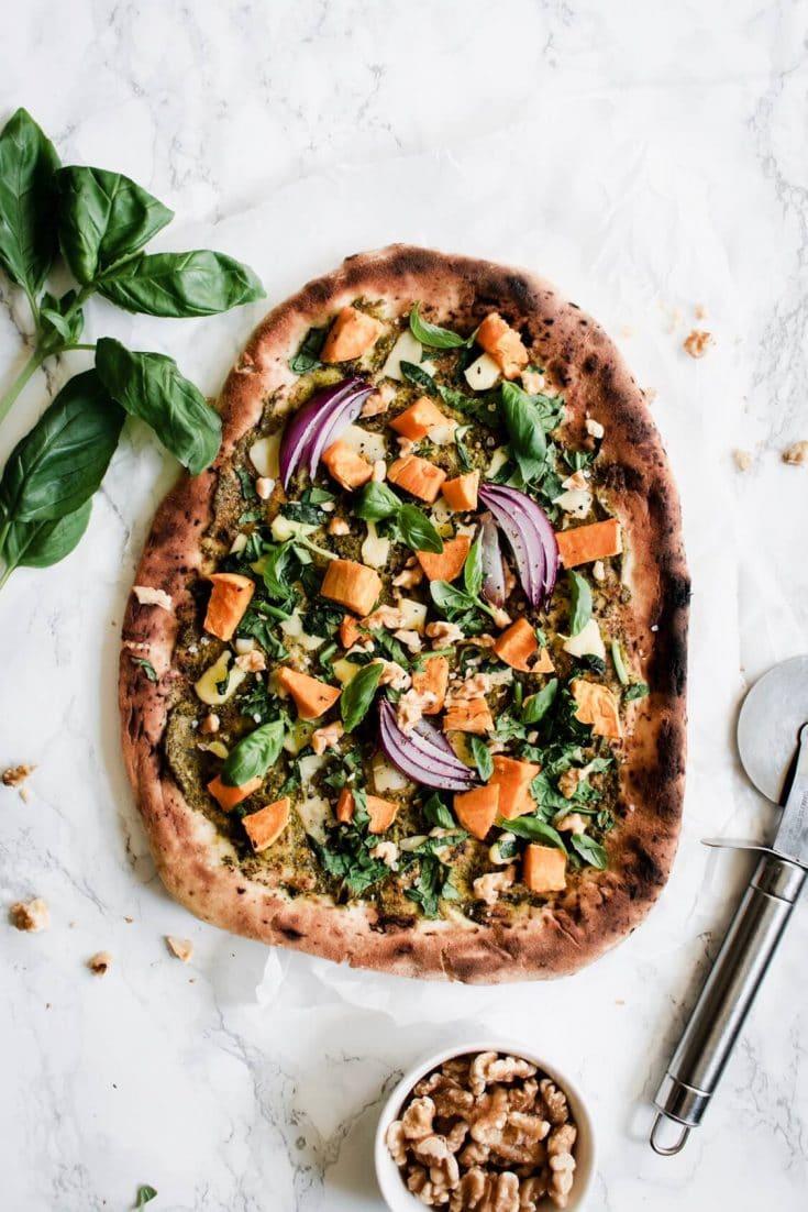Vegan Naan Pizza with Pesto and Sweet Potato