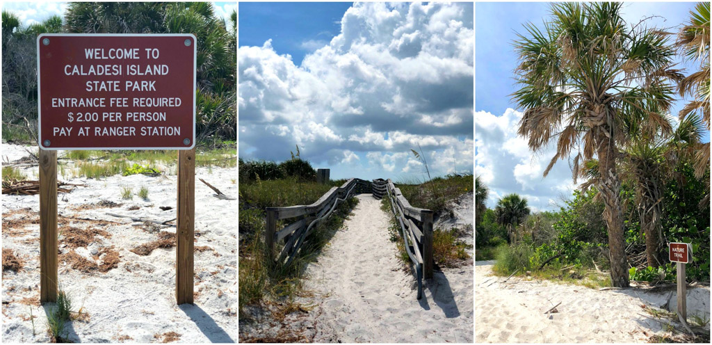 Welcome to Caladesi Island sign and the nature trail.