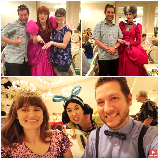 A collage of images showing the charasters interacting with guests at 1900 Park Fare in the Grand Floridian Resort.