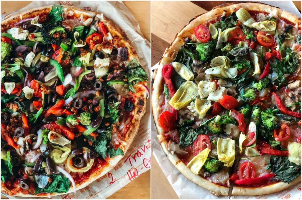 Two vegan high-rise crust pizzaz from Blaze Pizza in Disney Springs.