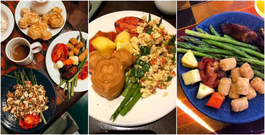 A collage of the different food options available at the Boma restaurant at Animal Kingdom Lodge in Disney World.