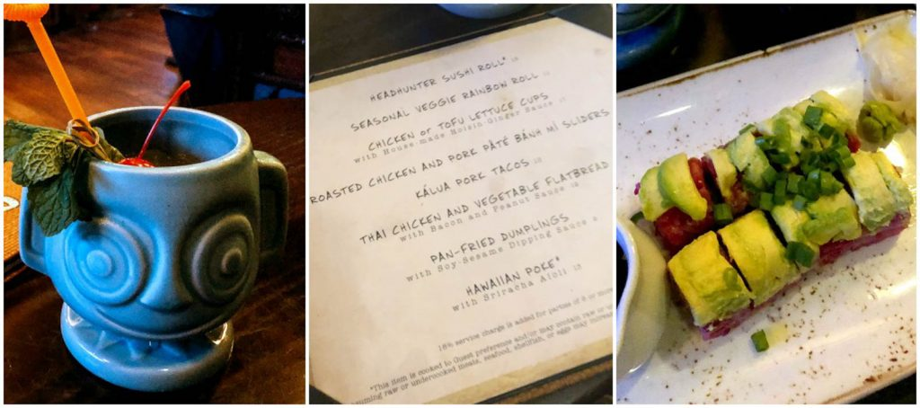 A collage of images showing the drinks, menu, and food at Trader Sam's Grog Grotto at the Polynesian Resort in Disney World.