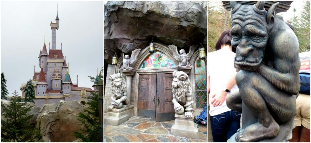 A collage of images showing the Beast Castle, entrance, and gargoyles in Fantasyland at Disney World.