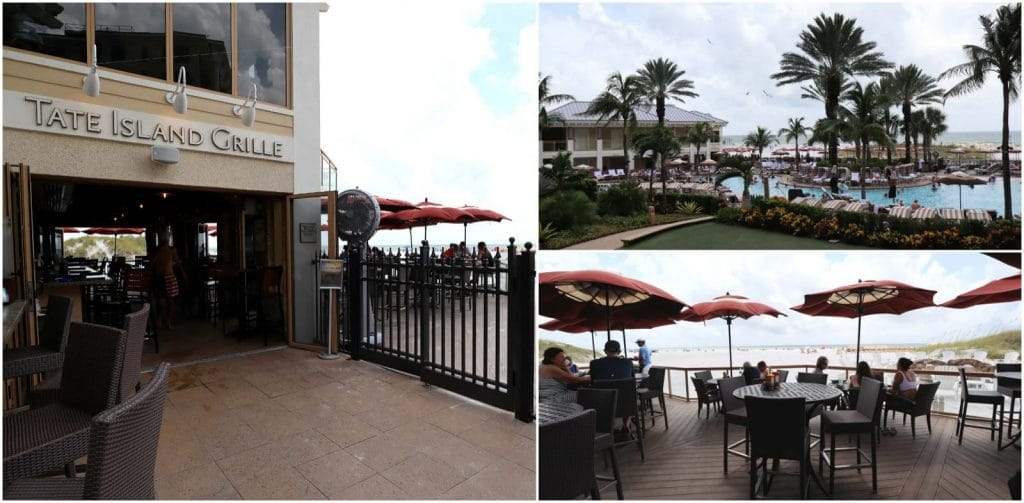 A collage of the entrance, pool deck, and seating area at Tate Island grill at the Sandpearl Resort on Clearwater Beach.