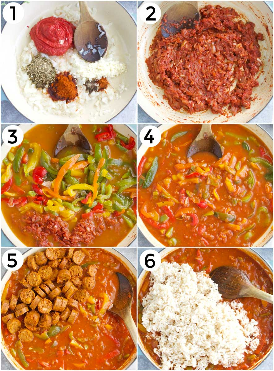 A photo collage showing how to make vegan sausages with peppers and rice.