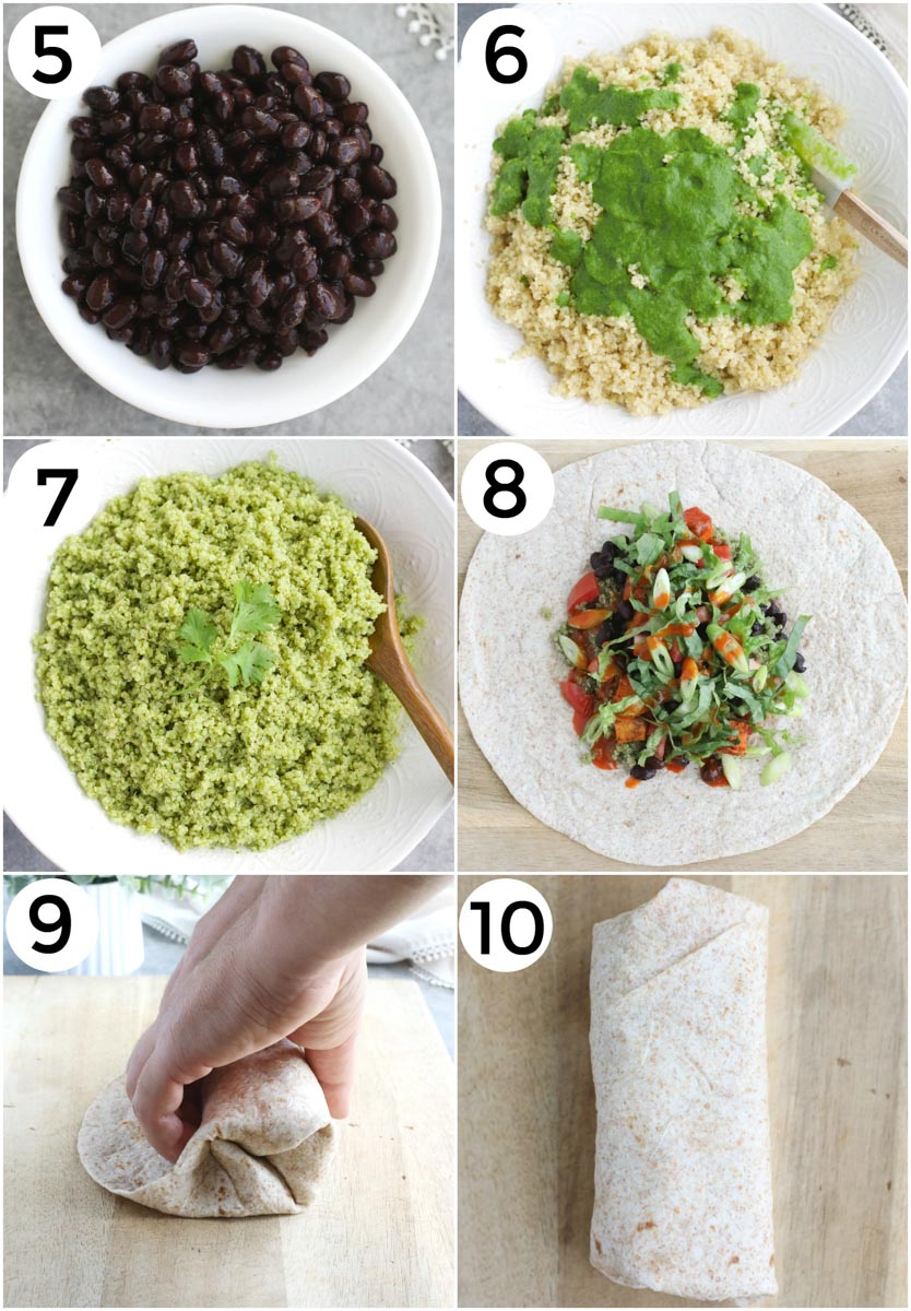 A photo collage showing how to make sweet potato burritos in 6 steps.