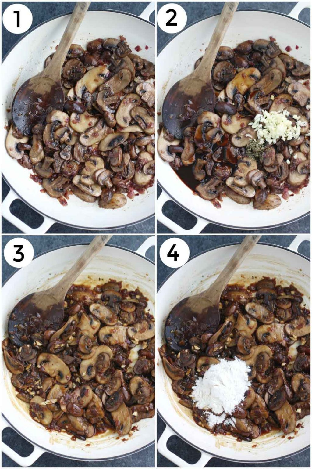 A photo collage showing how to make vegan mushroom gravy in a few easy steps.