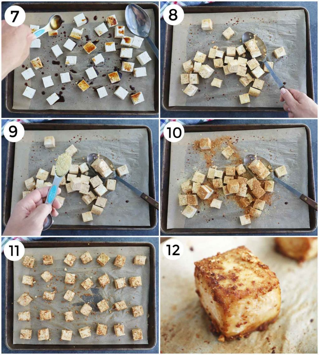 A photo collage showing how to make baked tofu in a few easy steps.