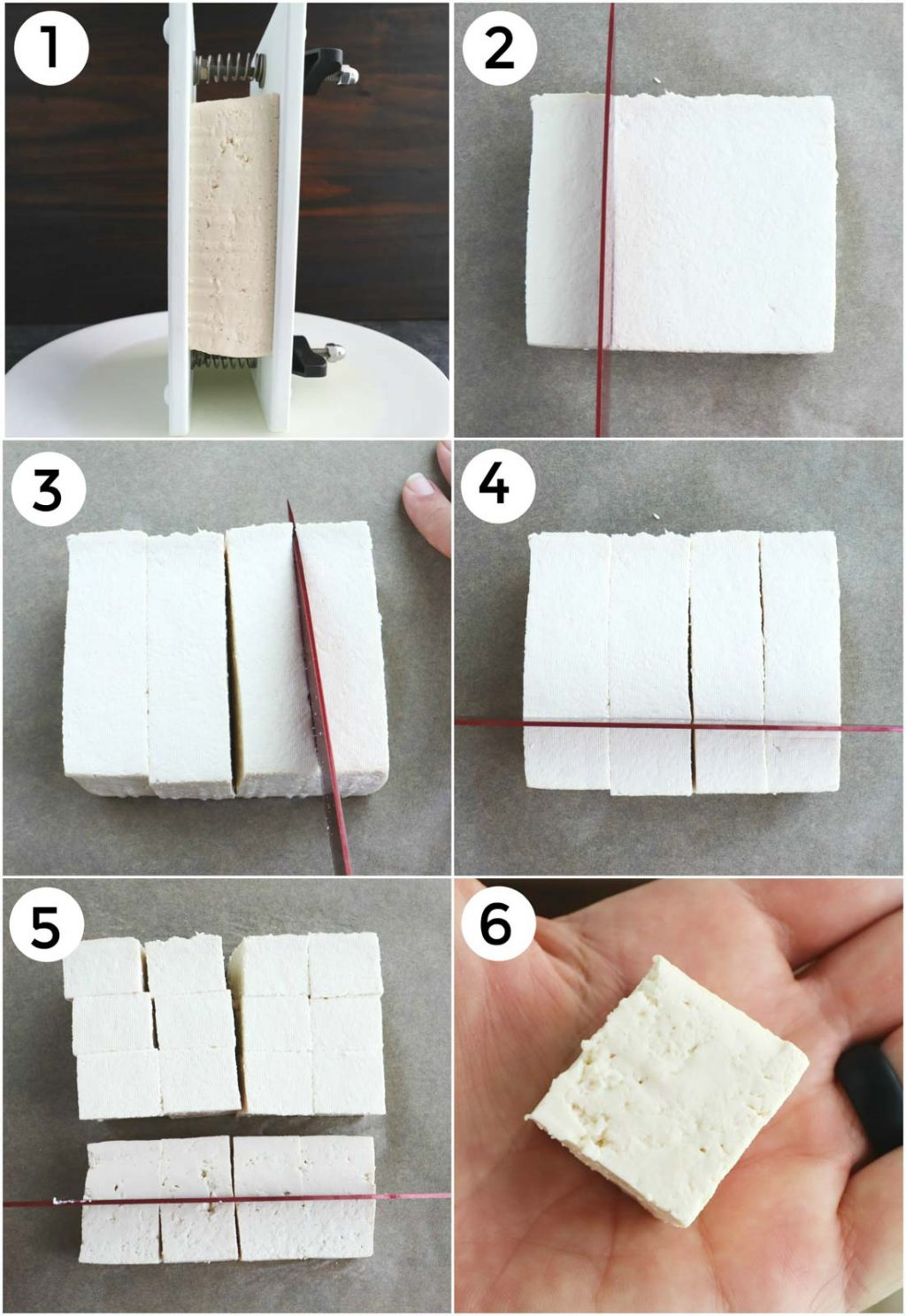 A photo collage showing how to press and slice tofu into cubes.
