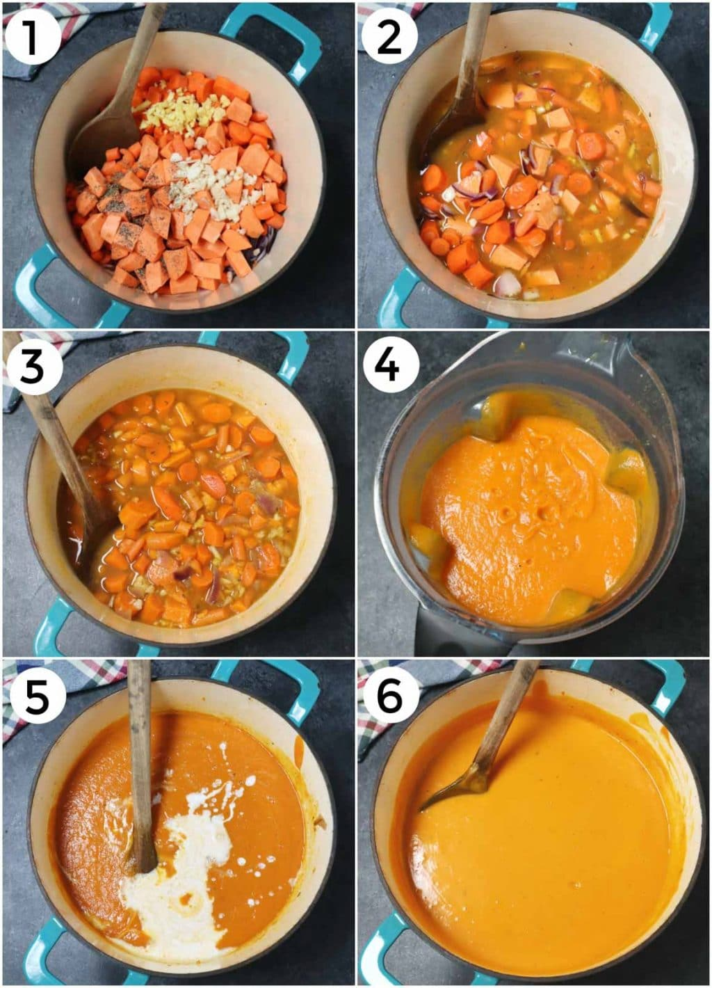 A photo collage showing how to make carrot ginger soup in a few easy steps.