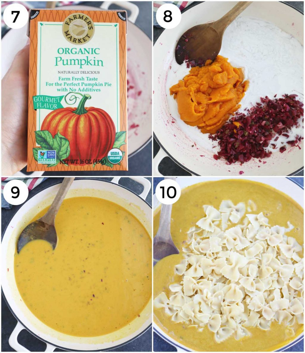 A photo collage showing how to make pumpkin pasta sauce in a few easy steps.