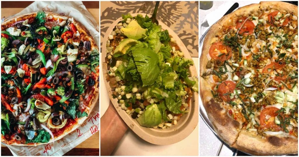 A photo collage showing vegan food at vegan-friendly chain restaurants.