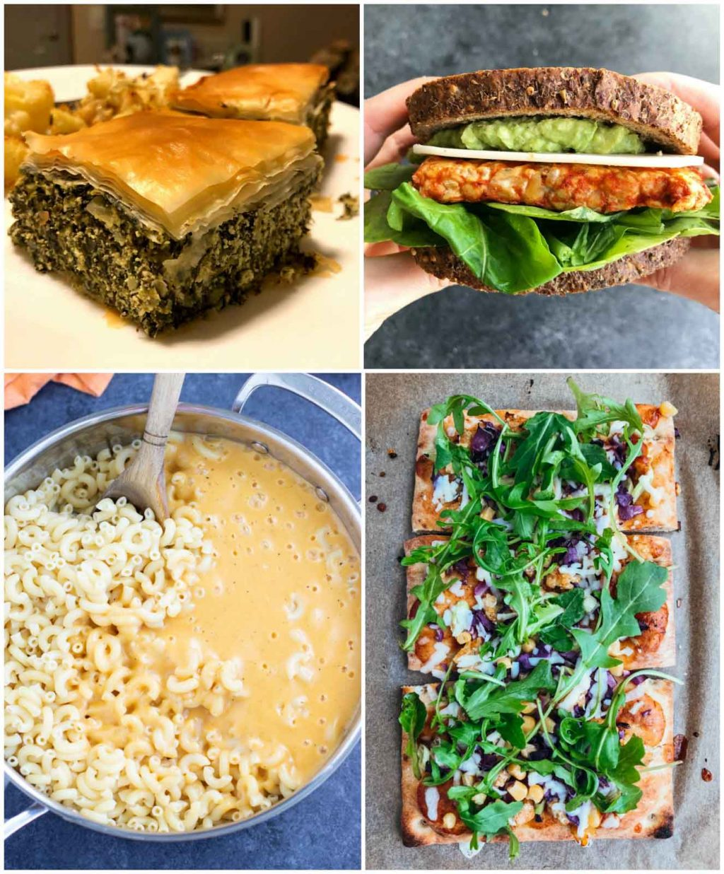 A photo collage showing pictures of recipes that use vegan dairy products.